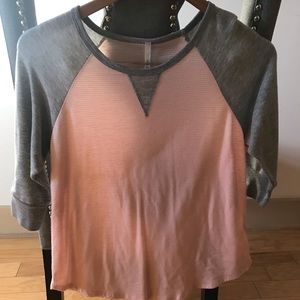 Pink and Grey striped baseball t